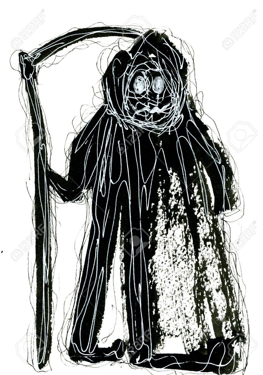 Lart Abstrait Agrandi Créative Lavis à Laquarelle Aquarelle Dessin Tiré Par La Main De Grim Reaper Méchants Portant Mackintosh Couleurs Noir Noir Et