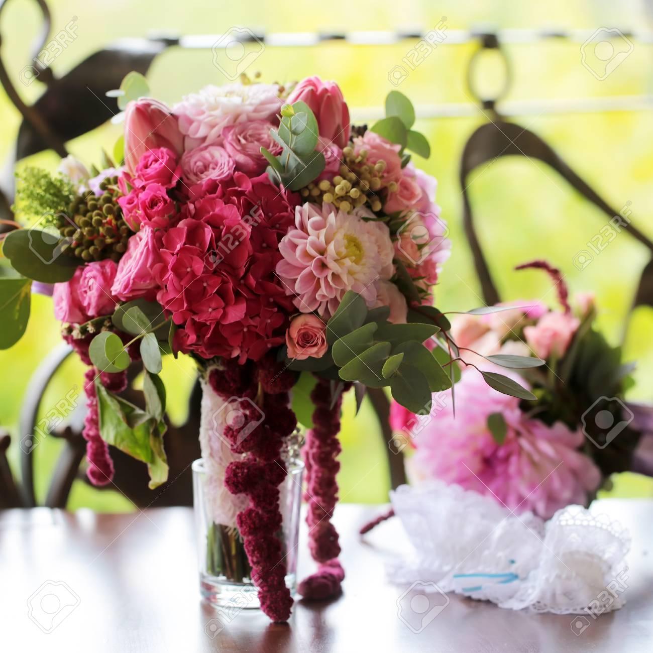 Closeup View Of One Beautiful Fresh Colorful Mixed Wedding Bouquet ...