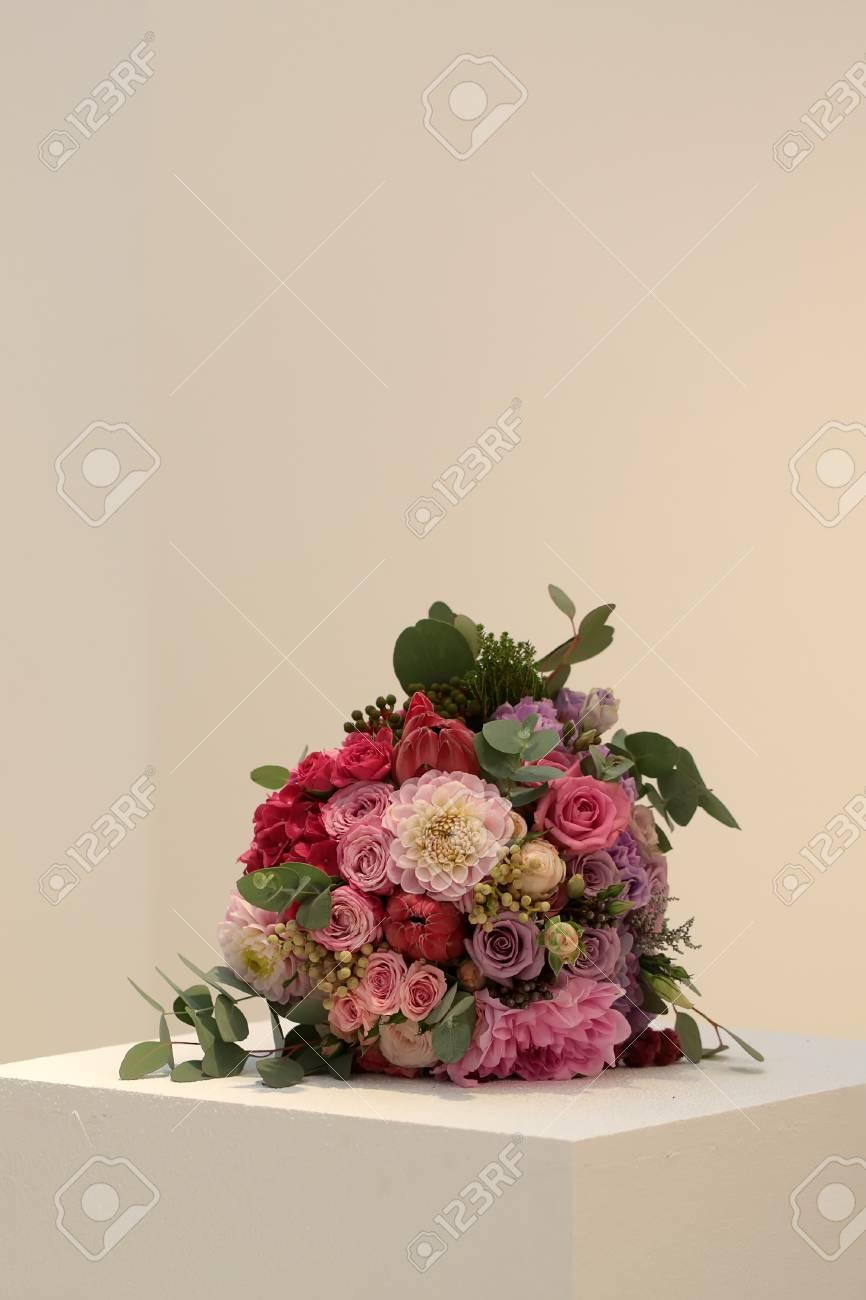 Closeup View Of One Beautiful Fresh Colorful Mixed Wedding Bouquet