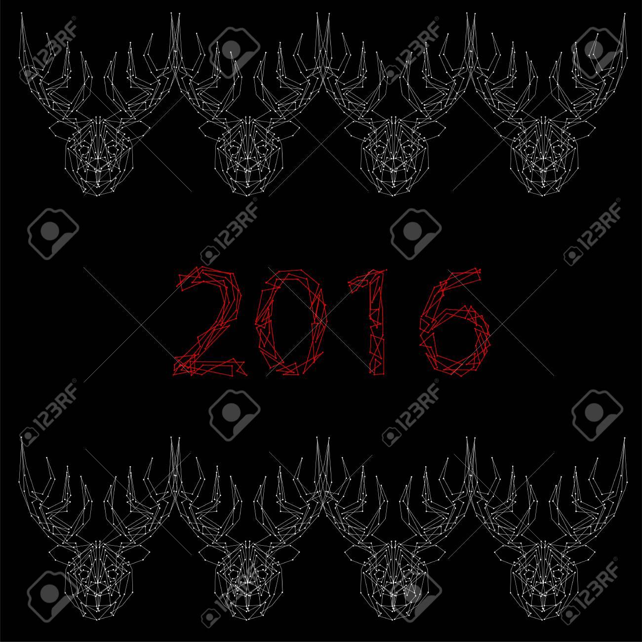 芸術創造的な冬休日壁紙ベクトル イラスト年賀アントラーズと黒い背景に 16年番号多くの白い鹿ののイラスト素材 ベクタ Image