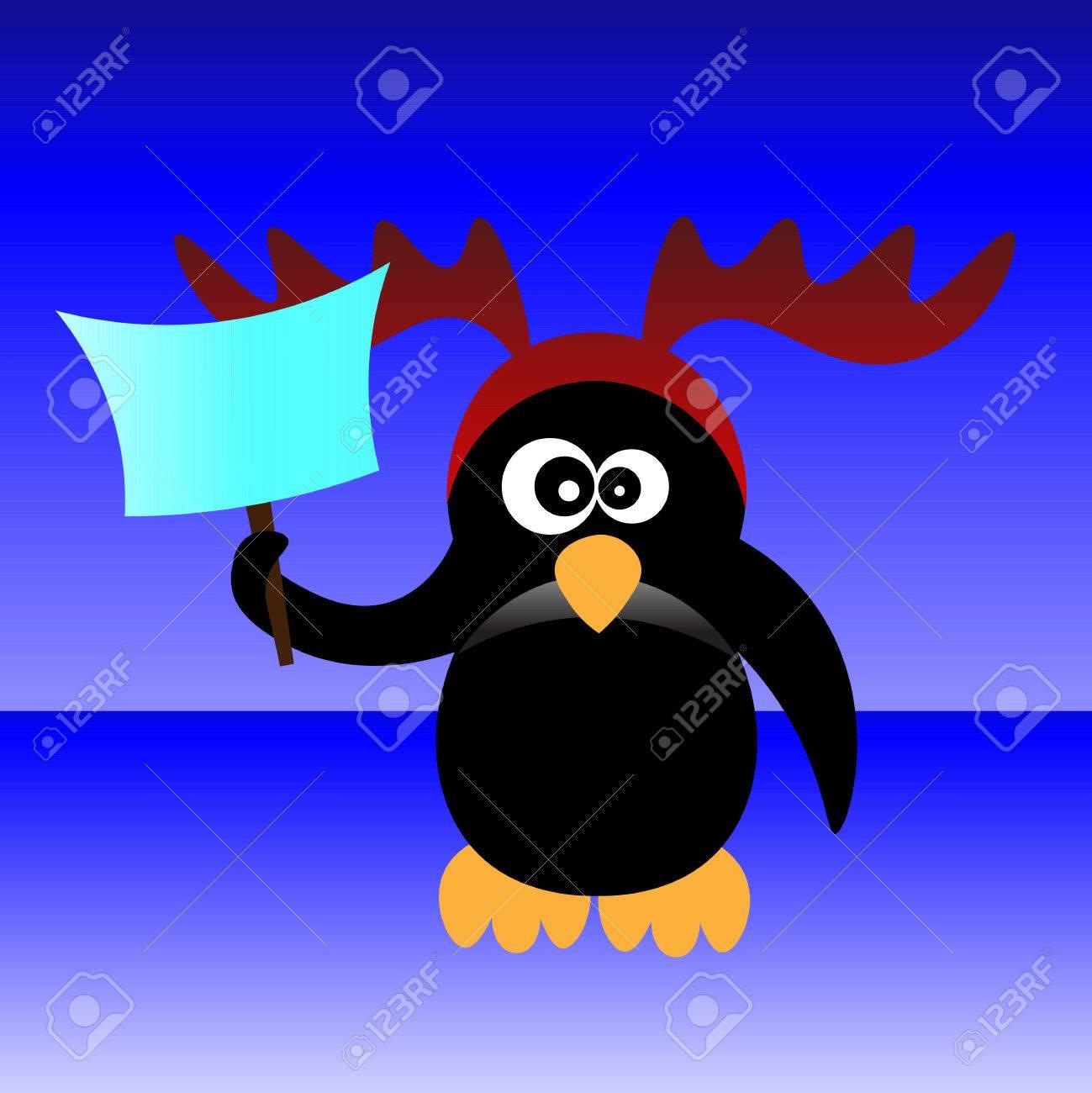 Art Créatif Coloré Nouvelle Année Hiver Vecteur Fond D écran De Vacances Illustration De Pinguin En Bois De Cerf De Noël Avec Feuille De Papier Sur