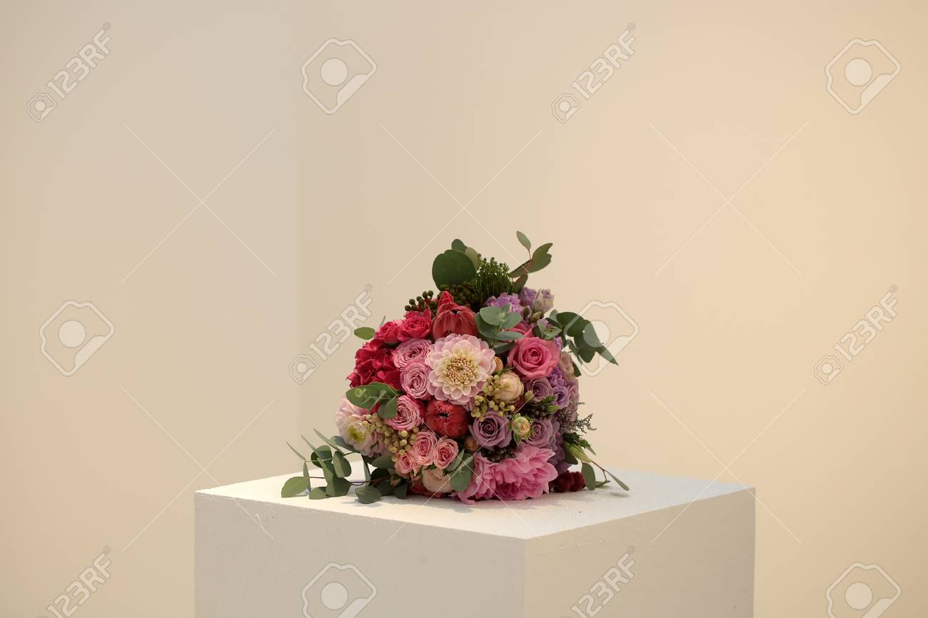 Closeup view of one beautiful fresh colorful mixed wedding bouquet closeup view of one beautiful fresh colorful mixed wedding bouquet with different flowers pink lilac violet izmirmasajfo