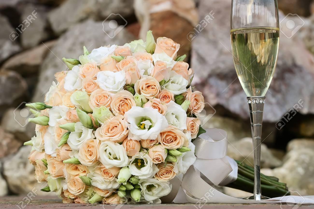 Photo Front View Closeup Ball Shaped Elegant Wedding Bouquet Stock