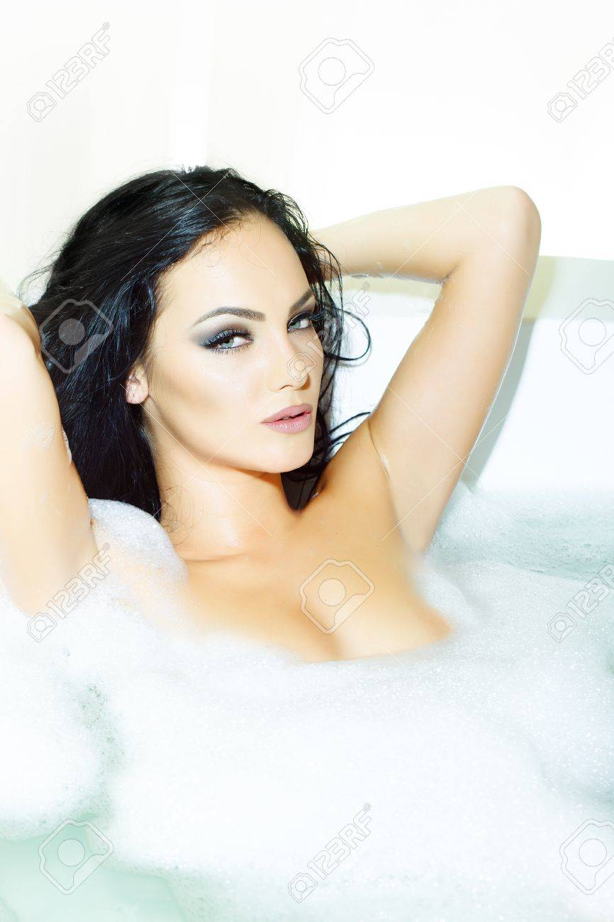 Brunette naked women in the bathtub One Attractive Passionate Young Brunette Sexy Naked Woman With Stock Photo Picture And Royalty Free Image Image 49109968