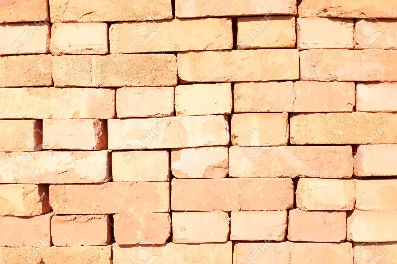 Photo Closeup Outdoor Rectangular Red Clay Brick Stack Facade ...