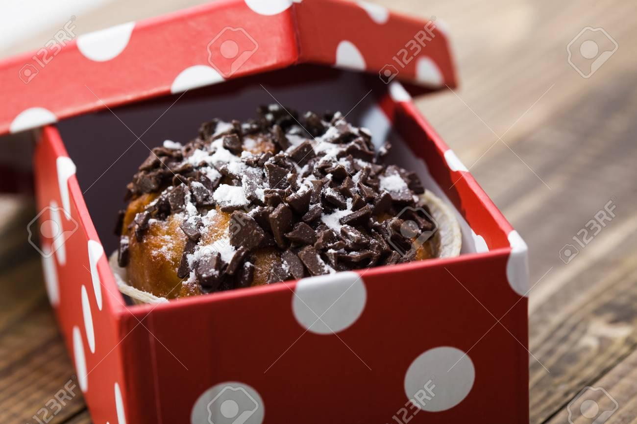 Yummy Fresh Baked Sweet Dessert Muffin With Dark Chocolate Chips