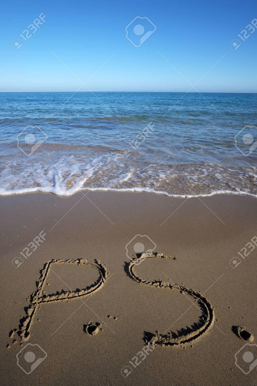 Photo Closeup Of Word P.S. Written On Beautiful Wet Beige Beach ...