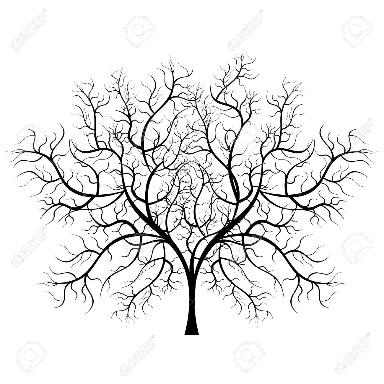c3c68198fda Bright pretty color vector graphic illustration of one growing bare black  tree on white background Stock