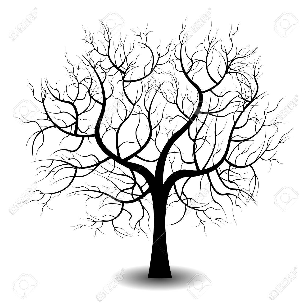 Bright pretty color vector graphic illustration of one growing black tree on white background - 51569847