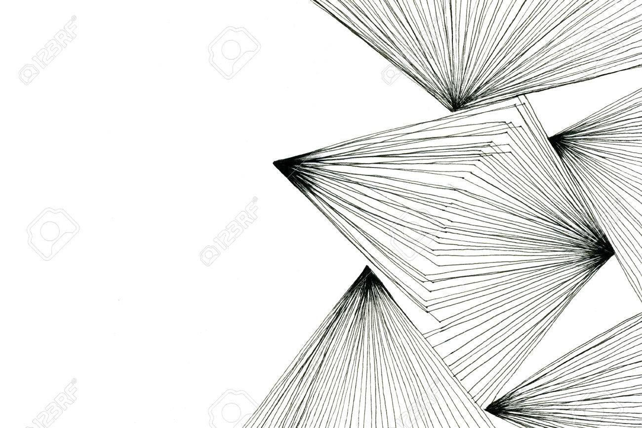 Black and white art drawing optical abstract geometric design