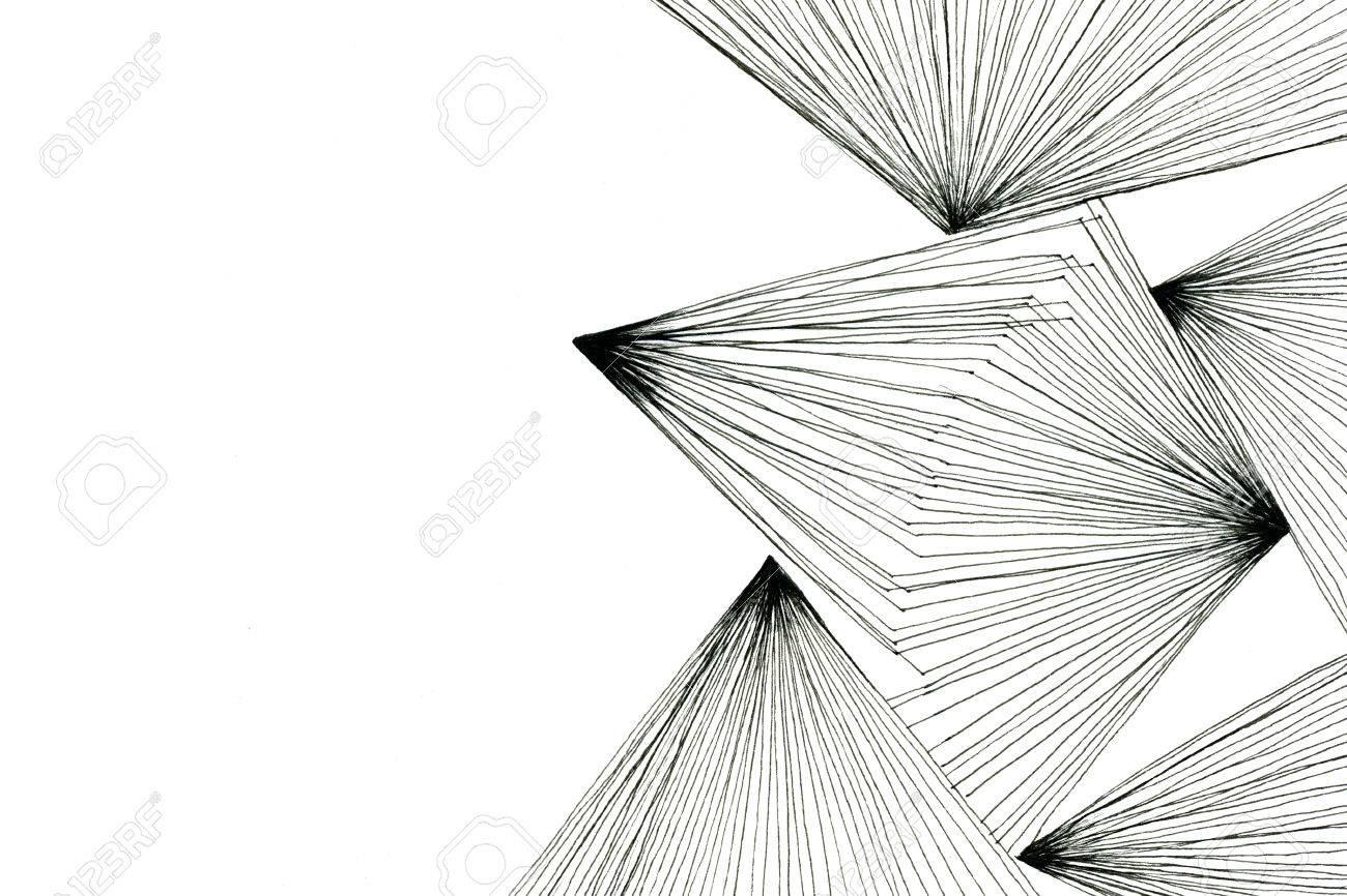 Image Noir Et Blanc Art Design Dessin Géométrique Abstrait Optique Avec Triangles Lignes Modernes Sur Papier Blanc Texture Fond Horizontal