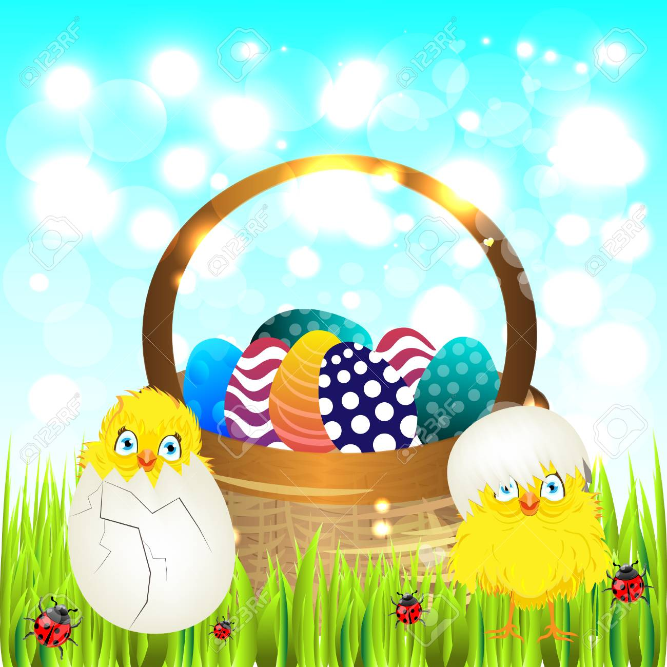 Bright Color Vector Graphic Illustration Of Happy Easter Sunday ...