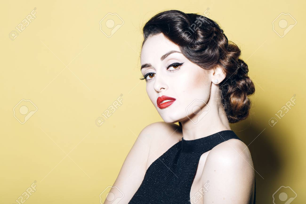 Portrait Of Attractive Sensual Glamour Retro Elegant Young Adult