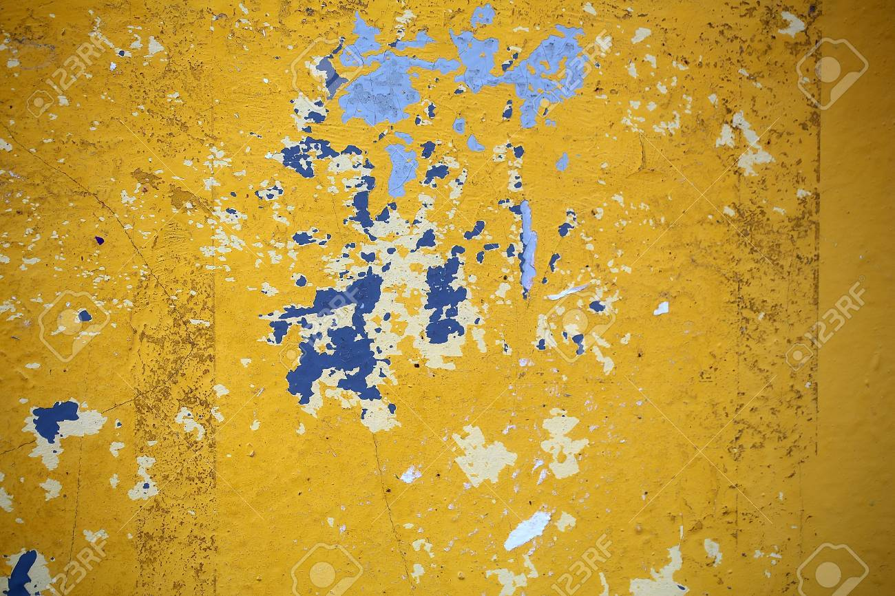 Wall Aging Yellow Blue White Paint Peeling Scaled Off Layers.. Stock ...