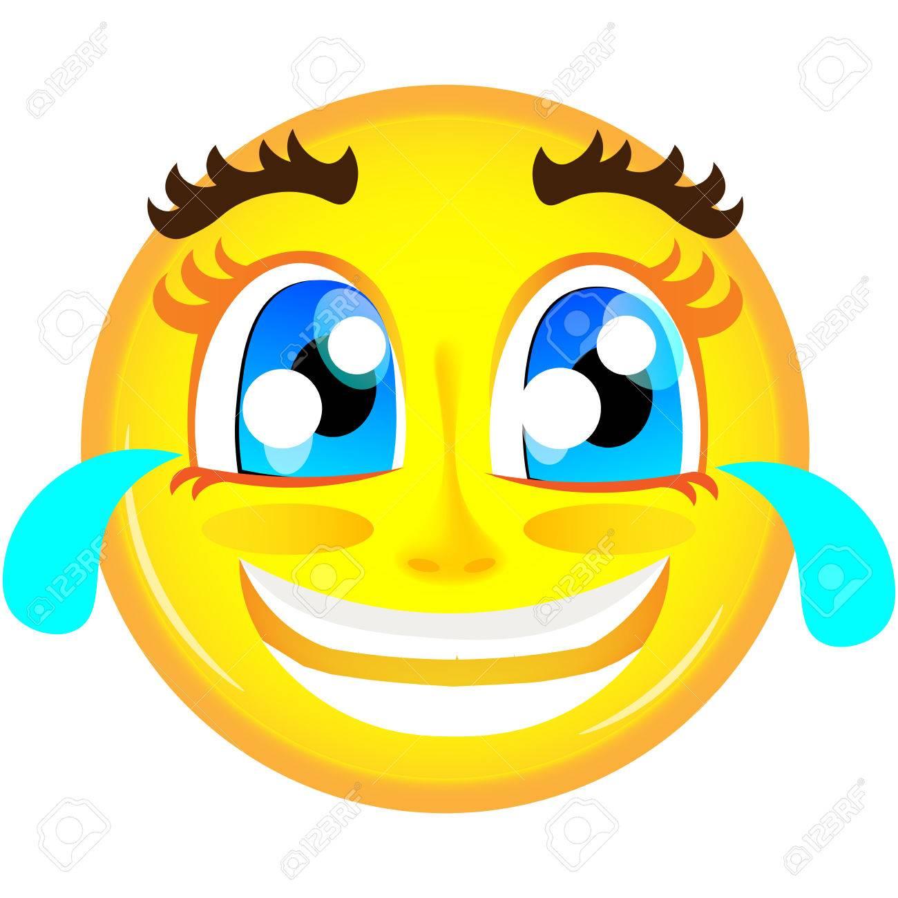 Emoticon De Rire Avec Des Larmes De Joie D Emoticone De Sourire Jaune Clip Art Libres De Droits Vecteurs Et Illustration Image 58949779
