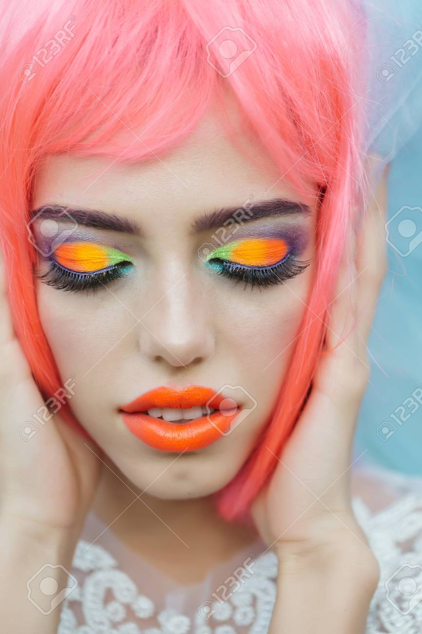 Young Girl With Attractive Face With Closed Eyes Bright Professional