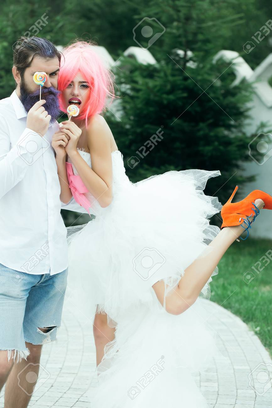 Happy Bride With Pretty Face In Funny Pink Wig White Bridal Dress ...