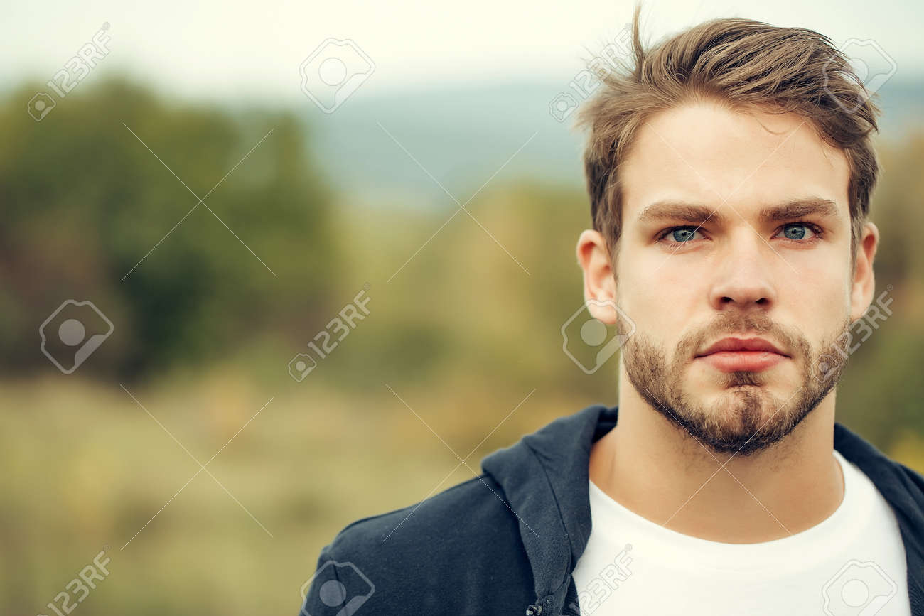 Young Guy With Bearded Handsome Serious Face Blue Eyes Brown Stock