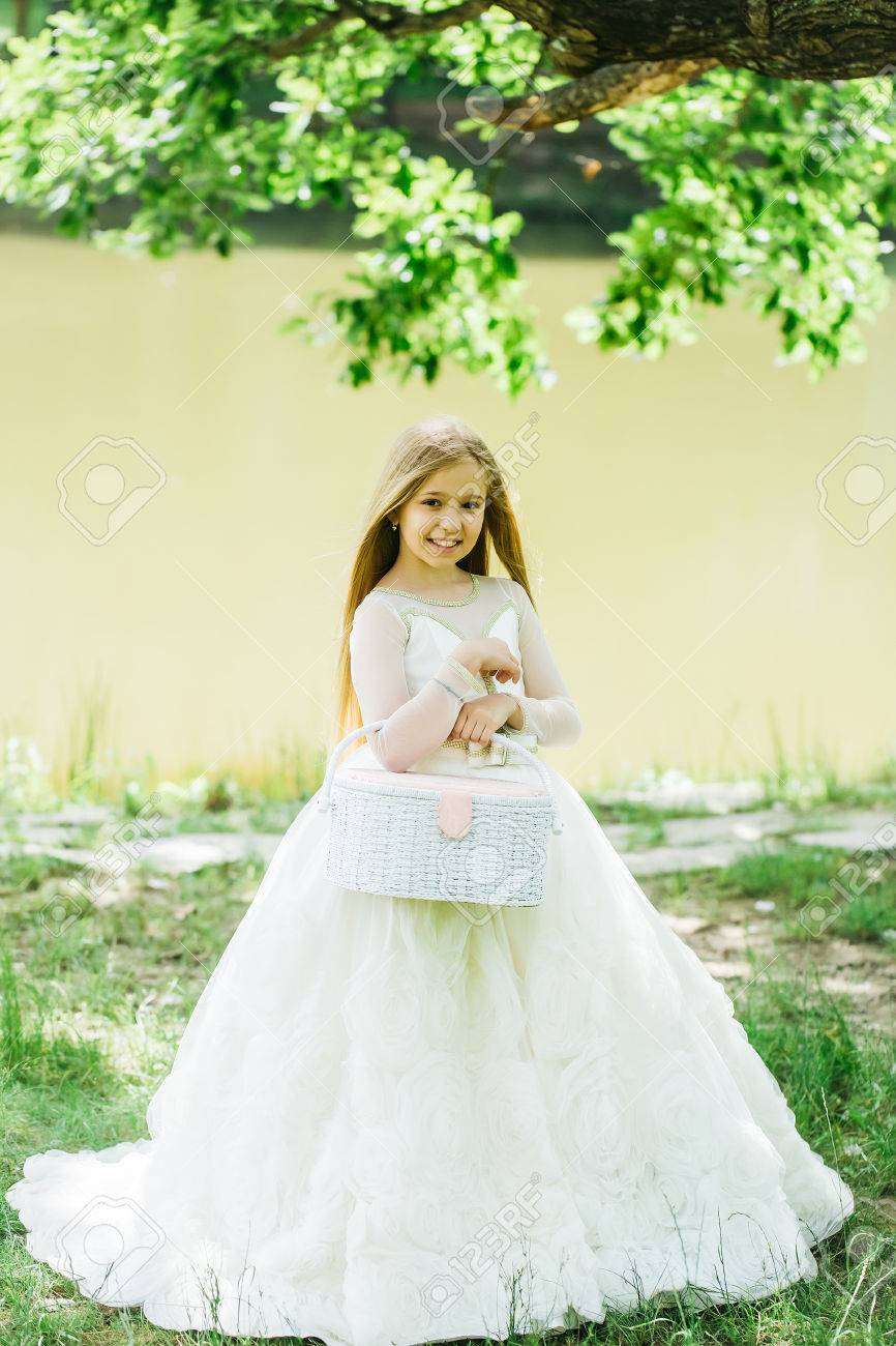 Small Girl Kid With Long Blonde Hair And Pretty Smiling Happy ...