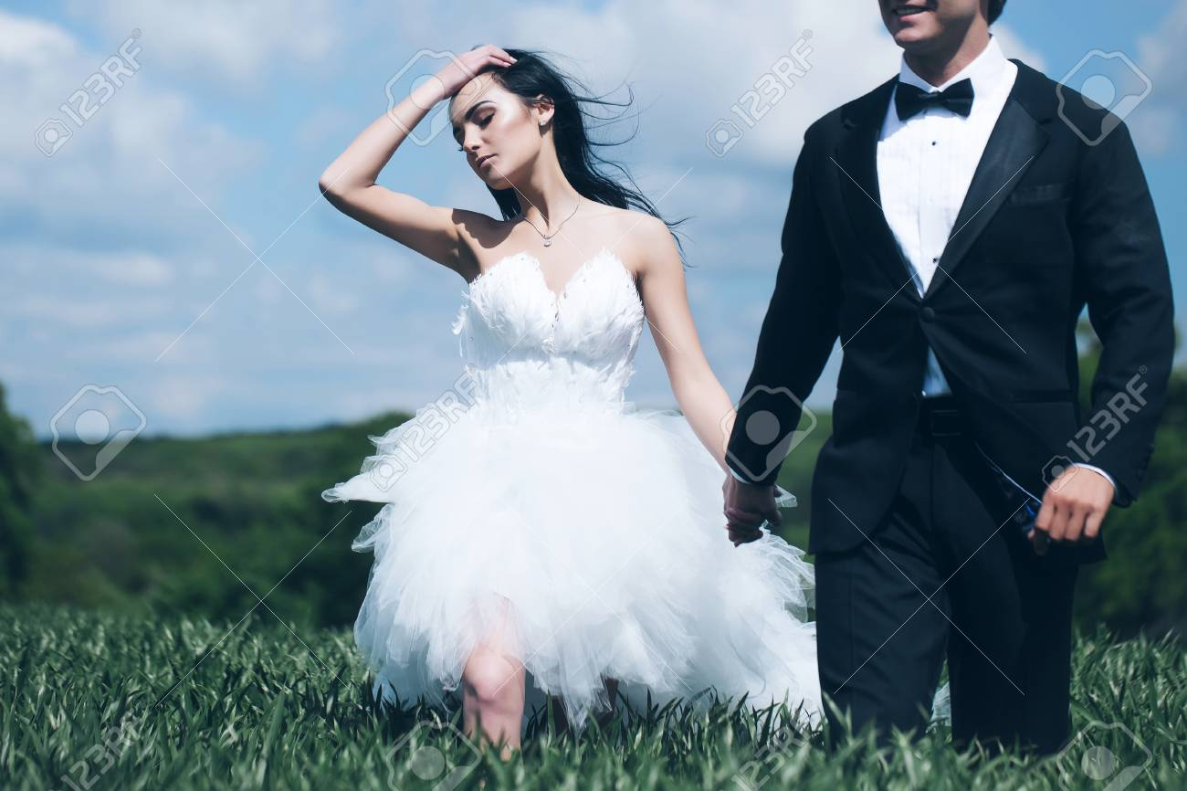 Beautiful Bride And Handsome Groom Elegant Fashion Married Couple ...