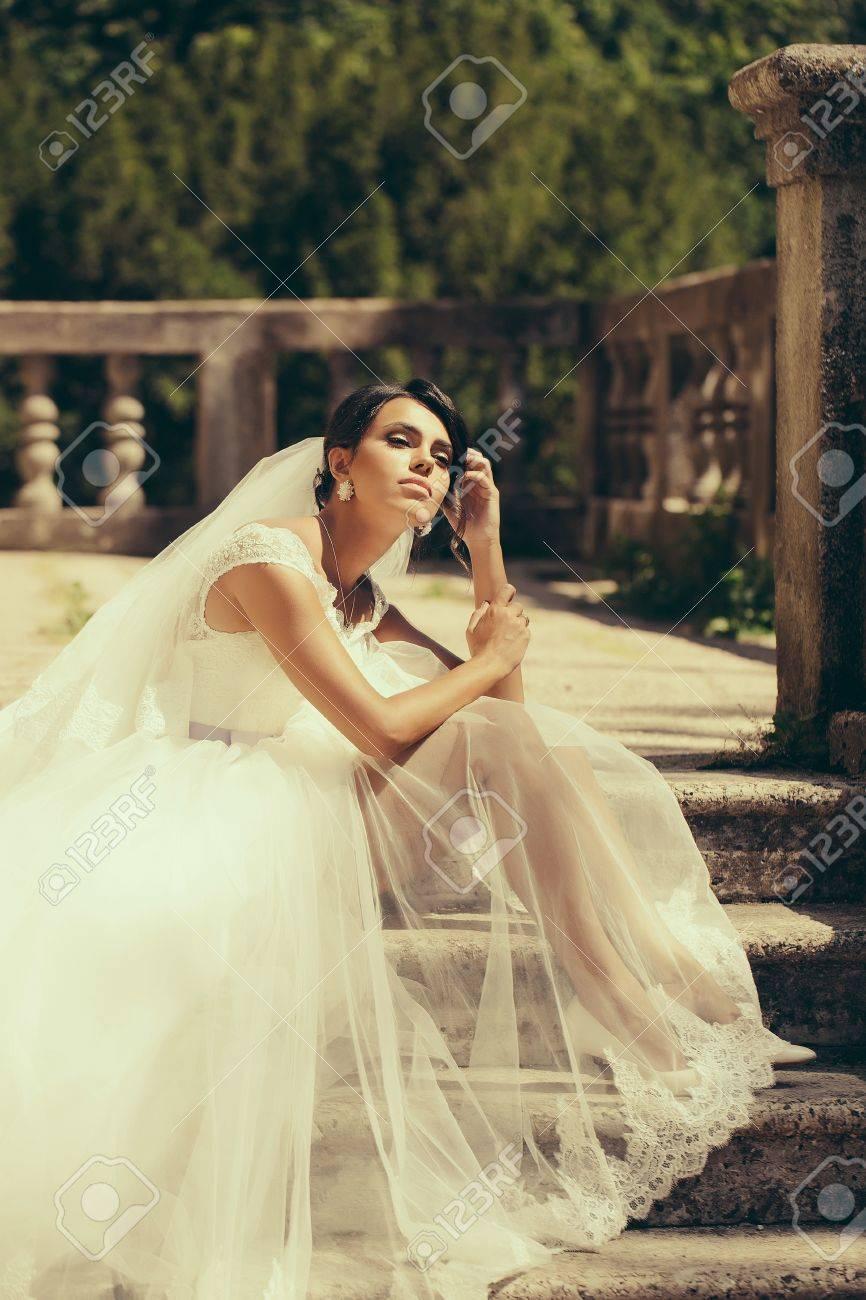 Gorgeous Bride Woman In Elegant Transparent Lace Wedding Dress ...