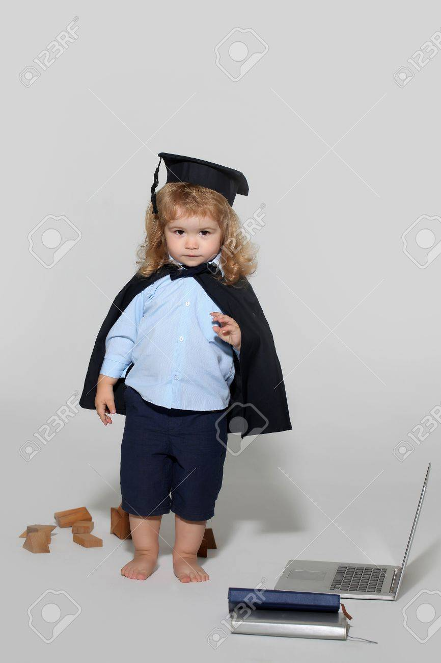 Small Boy Child With Long Blond Hair In Blue Shirt Black Graduation ...