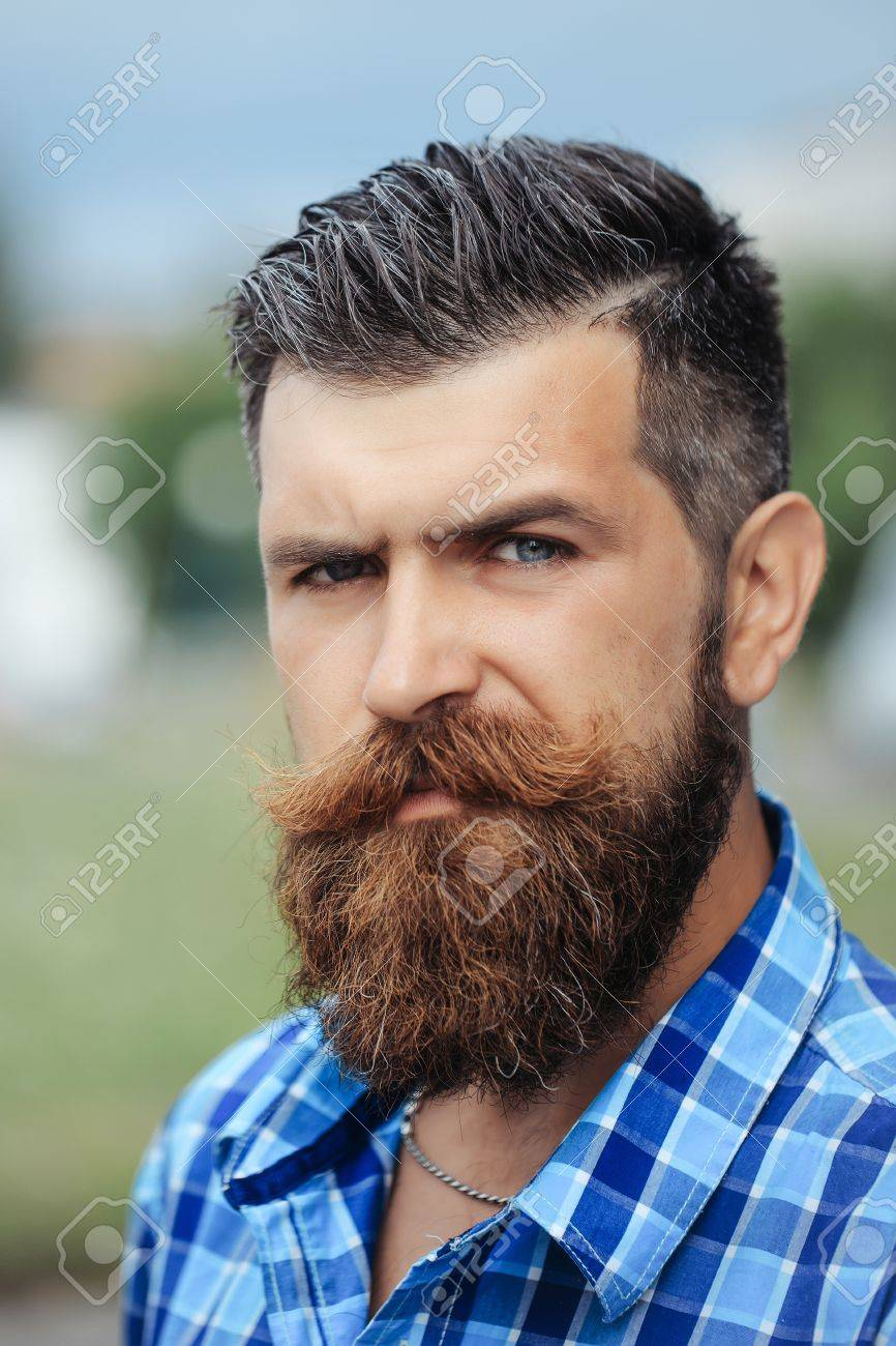 frown handsome bearded man with beard moustache and gray hair