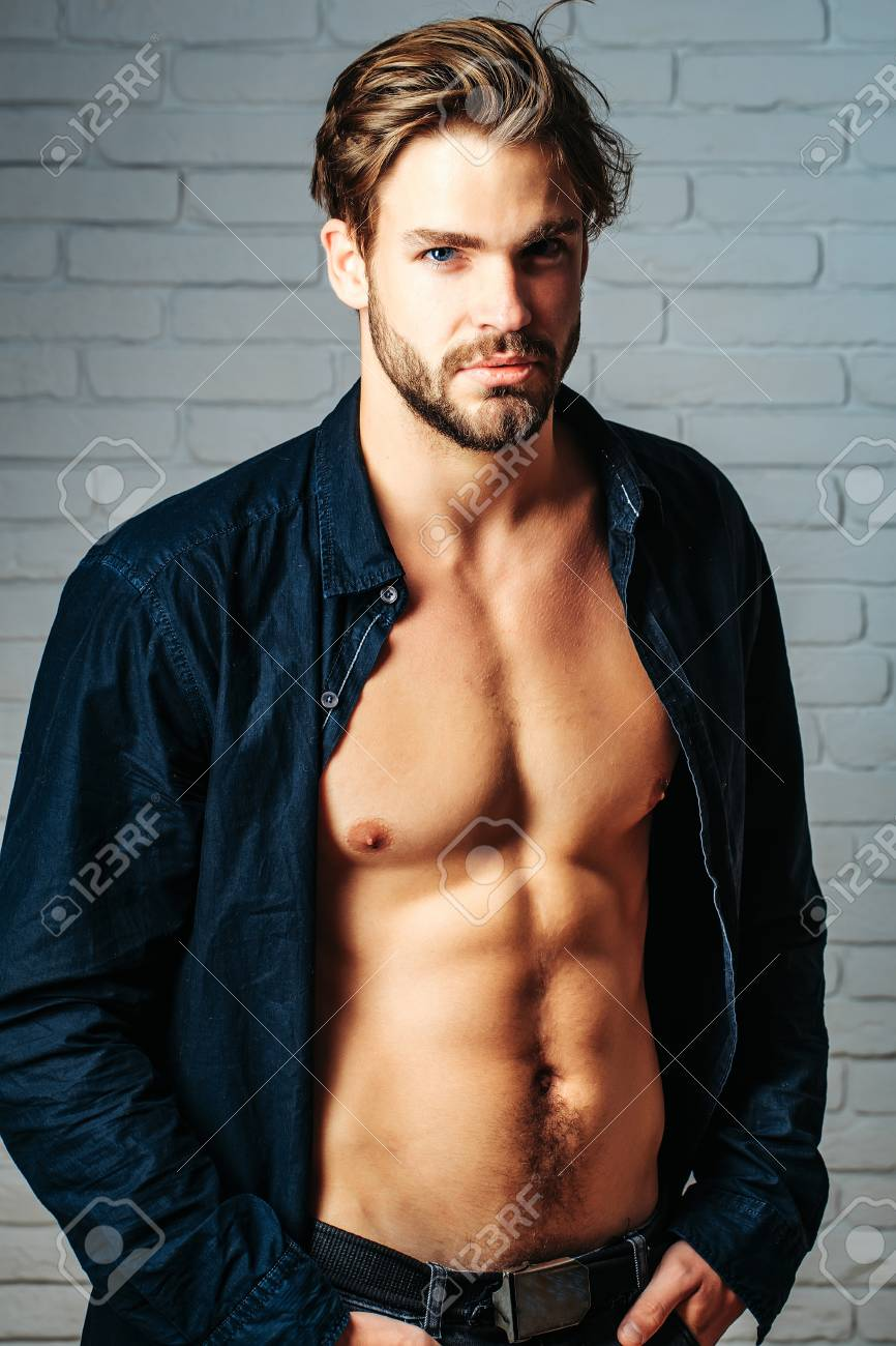 Sexy Young Handsome Bearded Man Or Guy With Bare Muscular Chest