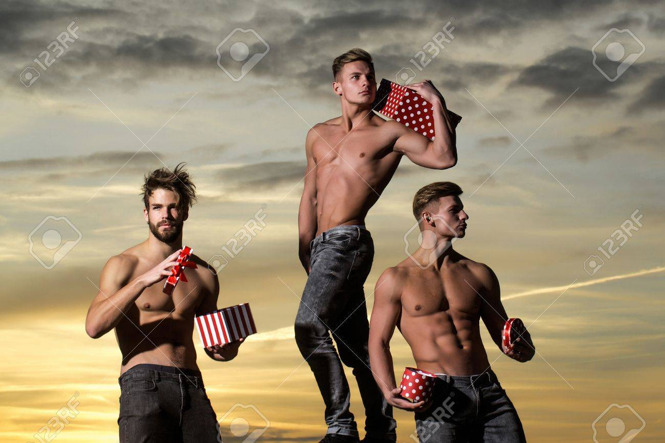 Three muscle guys