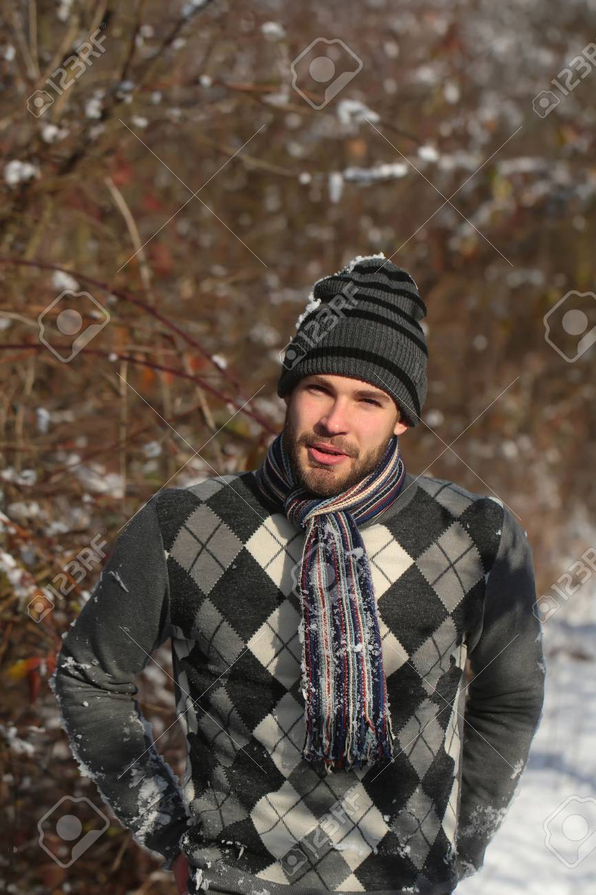 8c197cb0766 Handsome Bearded Young Man Or Sexy Guy In Winter Sweater