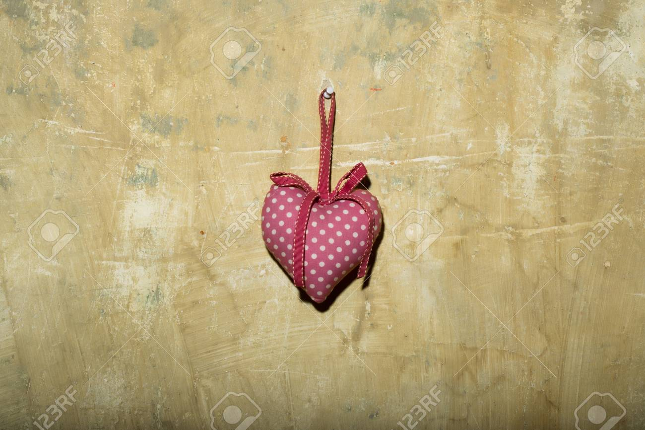 Abstract Backdrop Of Decorative Handmade Pink Heart As Valentines ...