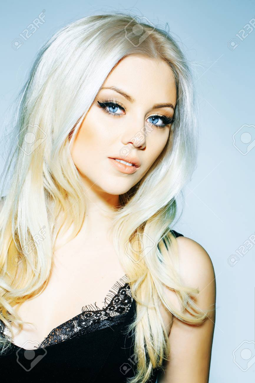 Pretty Girl Or Cute Woman With Long Platinum Blonde Hair And Stock