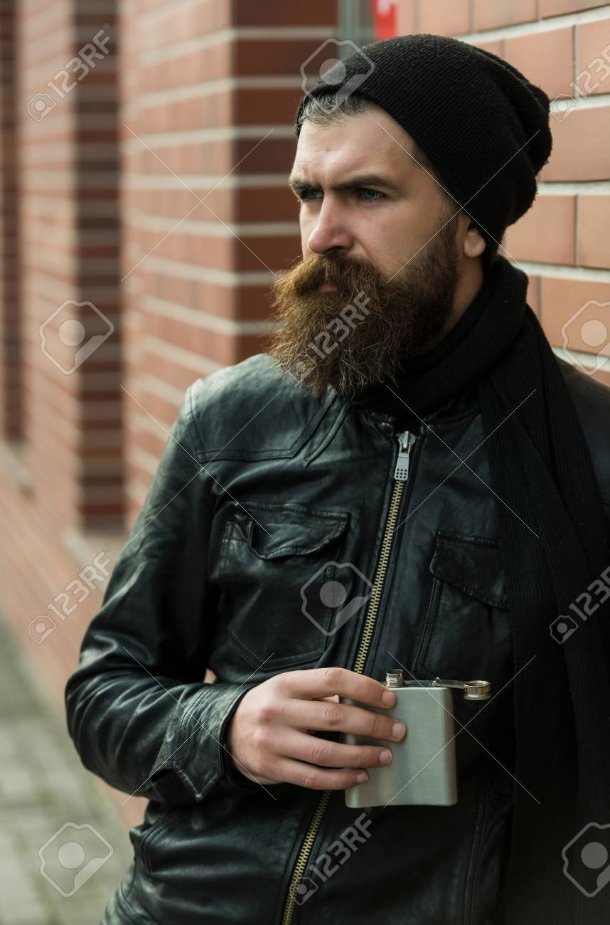 Bärtiger Mann Langer Bart Brutal Kaukasisch Hipster Mit