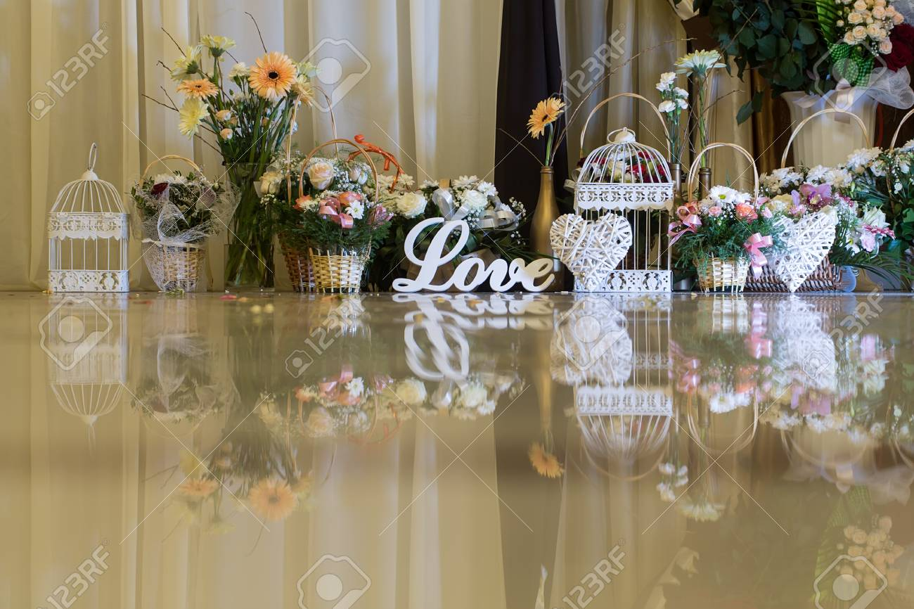 Vintage Decor Wedding Ceremony Word Love On The Background Of