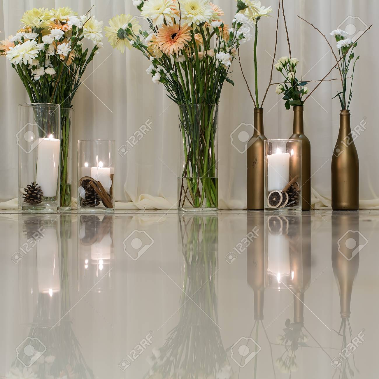 Flowers Flowers Bunches In Glass Vases And Wine Bottles And Stock