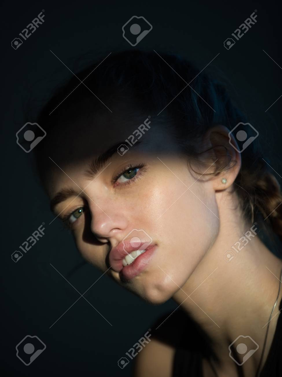 Cute Woman Or Pretty Girl With Adorable Face Green Eyes No Stock