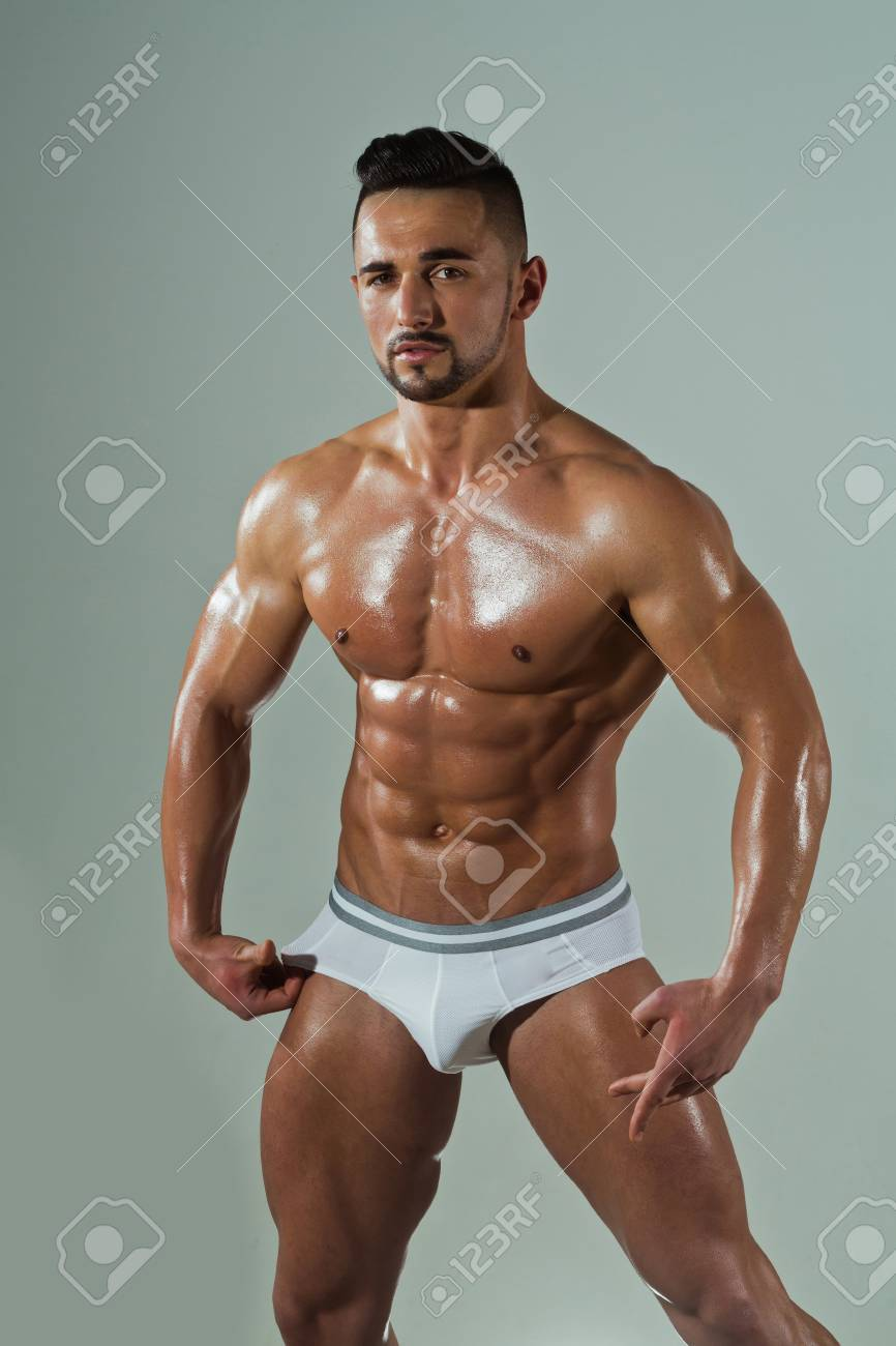 Bodybuilder With Muscular Body And Strong Torso Of Bearded ...