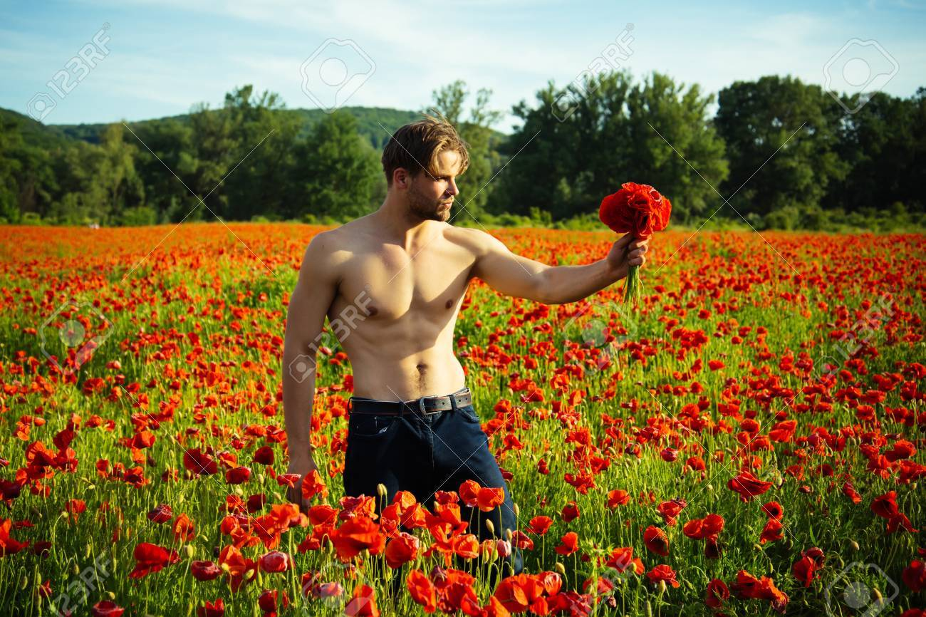 Man With Muscular Body And Athletic Torso Hold Flower Bouquet ...
