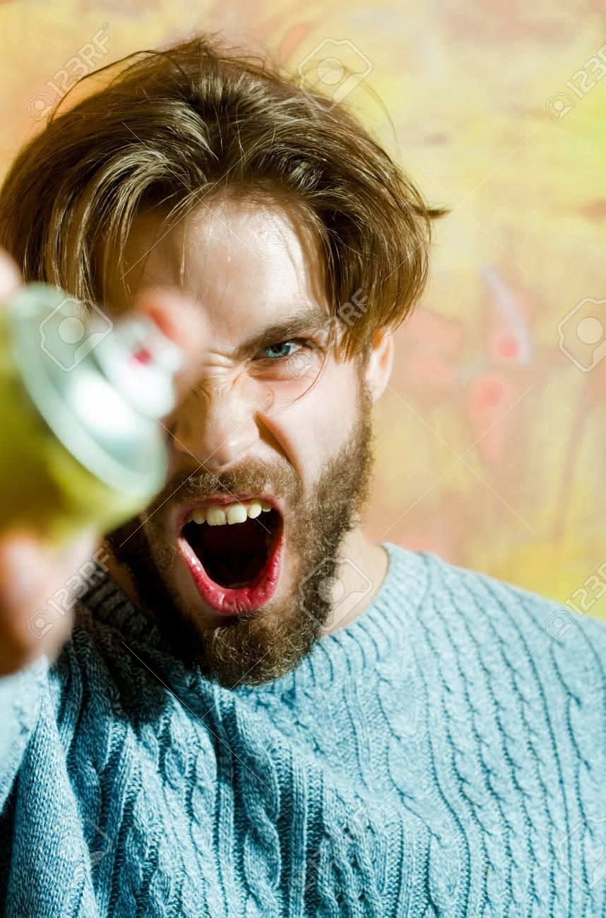 Wütender Mann Bärtiger Maler Oder Künstler Mit Bart Und Blonden