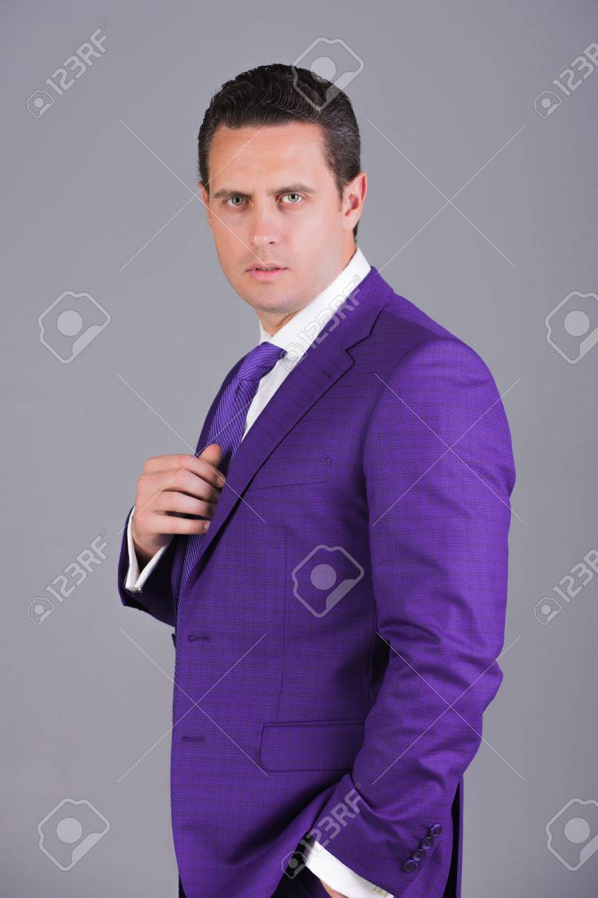 25b6ec50b Handsome businessman, confident man or successful boss with stylish hair,  haircut posing in fashionable