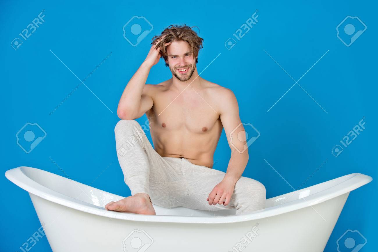 Bath And Man. Handsome Young Happy Guy With Muscular Body And ...