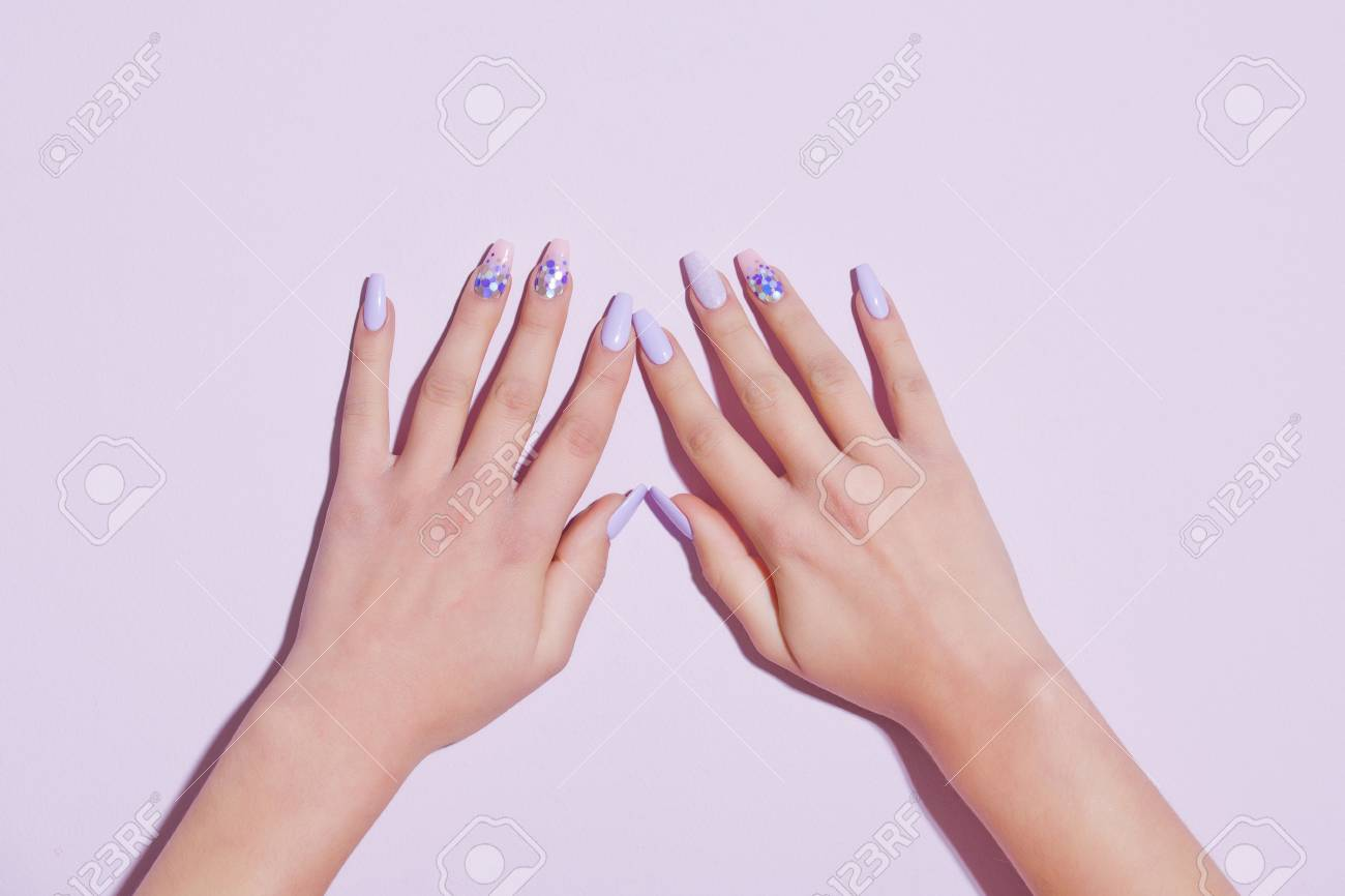 Beauty And Fashion. Nail Polish On Female Fingers. Spa And Skincare ...