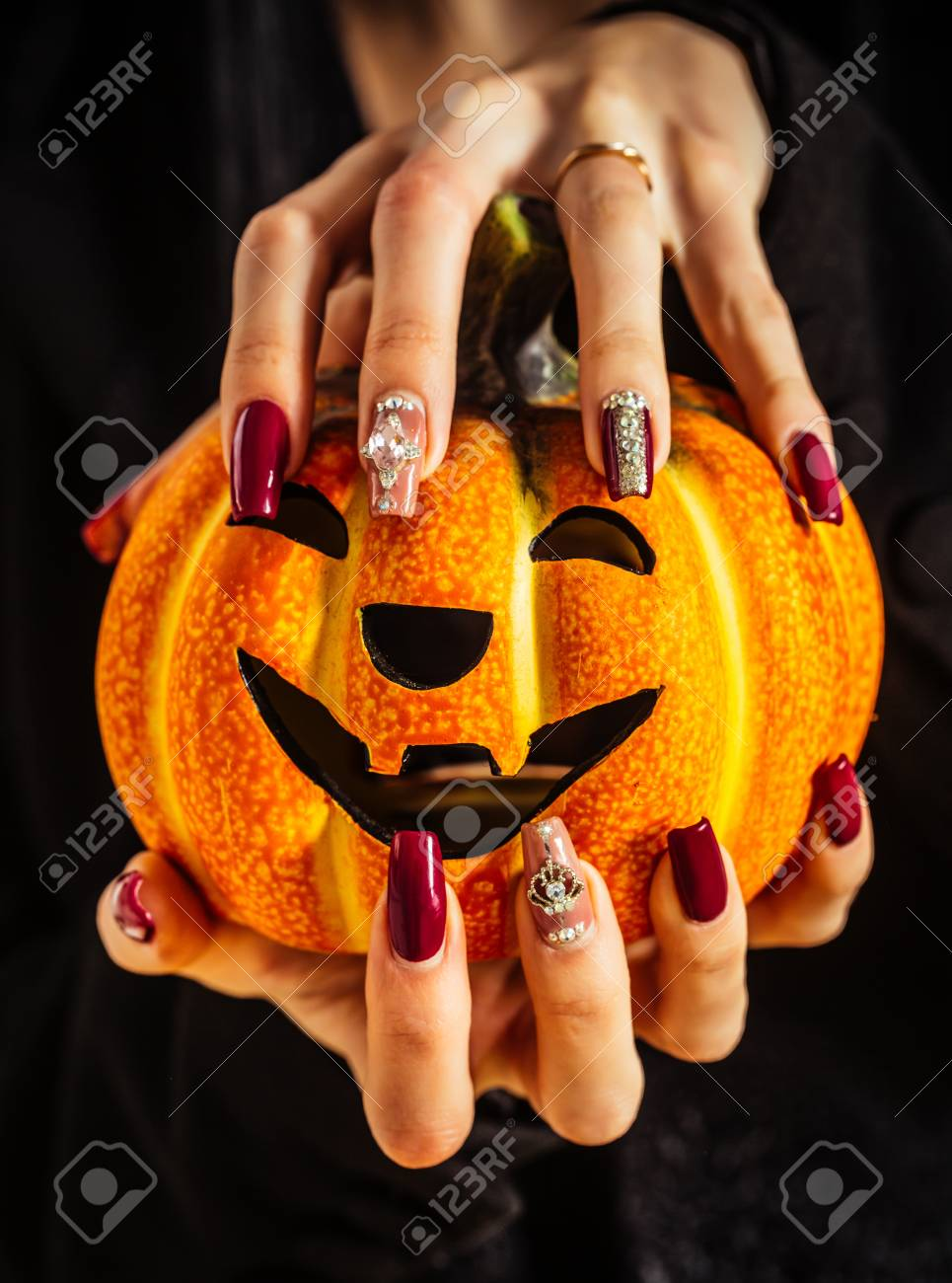 Halloween Jack O Lantern And Manicure With Gems And Sequins... Stock ...