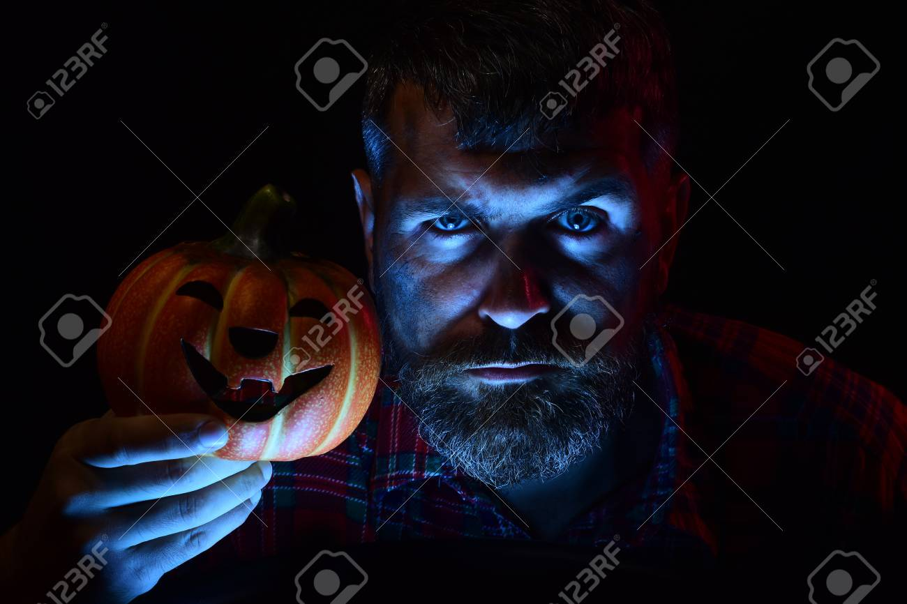 Halloween Maan.Halloween Man Holding Pumpkin Hipster With Light On Bearded