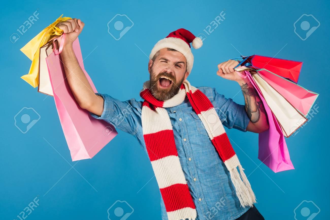 Weihnachtshippie-Griff-Einkaufstaschen Mit Siegergeste ...