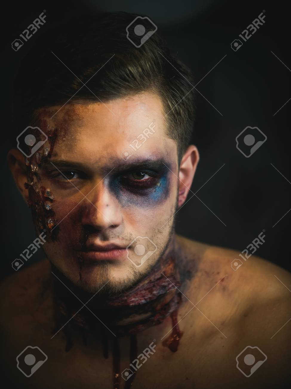 Halloween Make Up Men.Halloween Guy With Blood And Wounds Holiday And Celebration