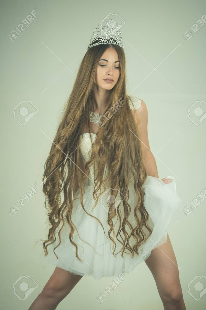 Beauty Salon And Wedding Fashion Woman With Long Hair White Stock