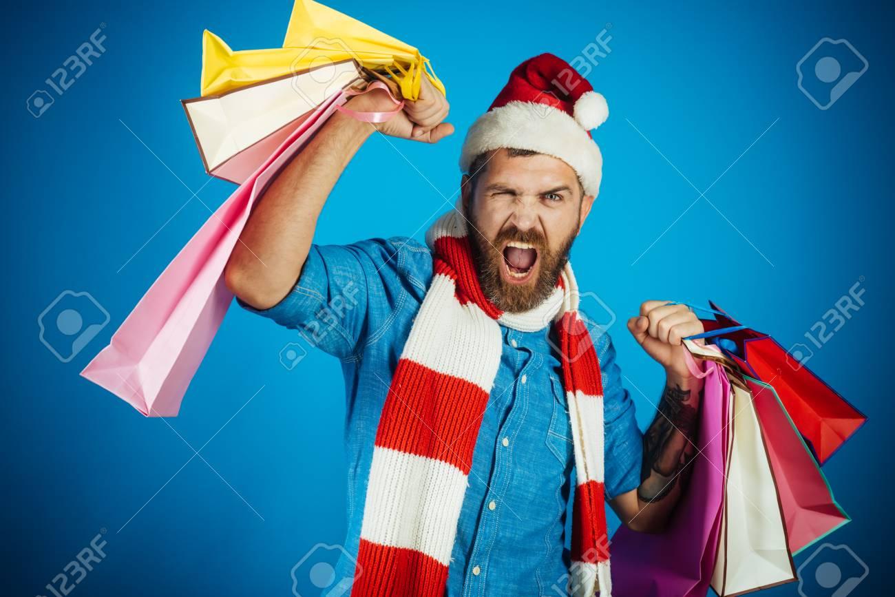 Weihnachten Winterferien Feier. Mannkäuferruf In Sankt-Hut Und ...