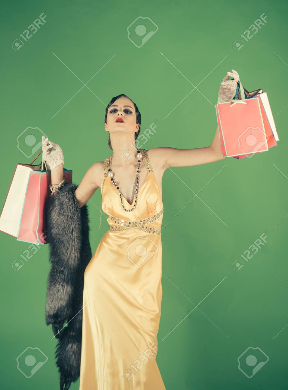 Pin Up Cute Fashion Model On Green Background Shopping Retro