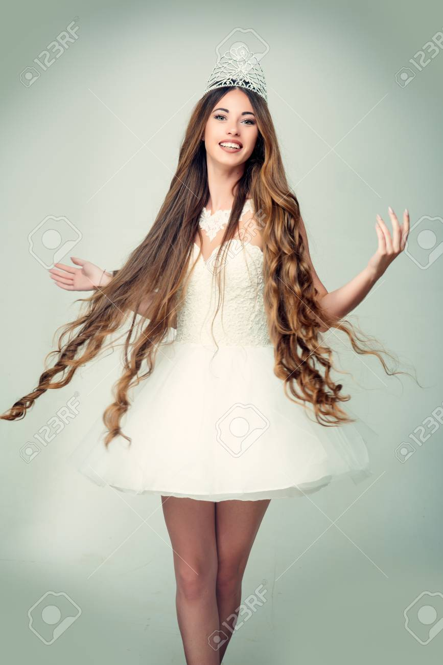 Haircare And Prom Queen Woman With Long Hair White Dress And